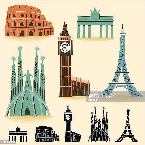 europe landmarks - brandenburg gate stock illustrations, clip art, cartoons, & icons