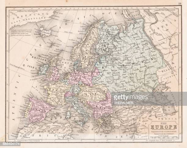 europe map 1867 - iberian peninsula stock illustrations, clip art, cartoons, & icons