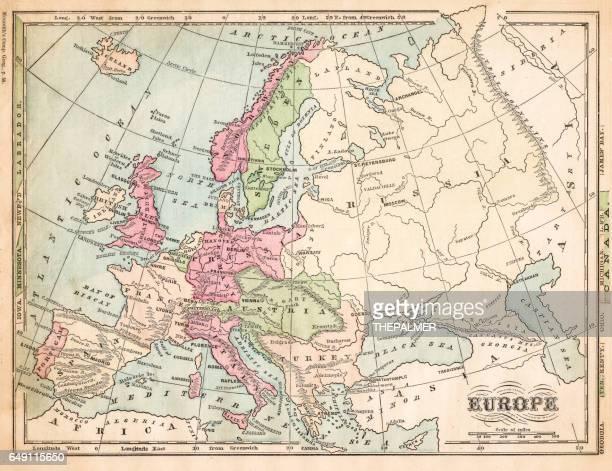 Europe map 1875