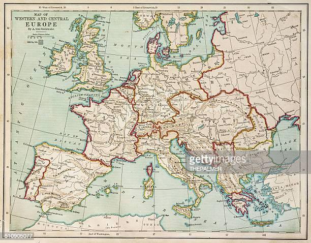 ilustrações de stock, clip art, desenhos animados e ícones de europa mapa 1877 - antiguidade