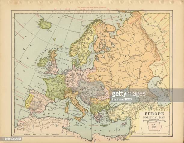 europa politische karte antike viktorianische gravierte farbige karte, 1899 - westeuropa stock-grafiken, -clipart, -cartoons und -symbole