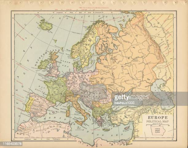 illustrazioni stock, clip art, cartoni animati e icone di tendenza di europe political map antique victorian engraved colored map, 1899 - europa occidentale