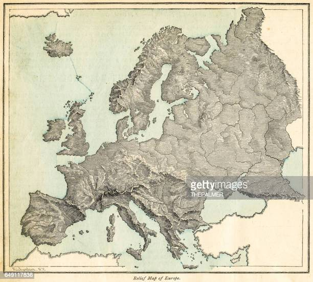 europe relief map 1875 - relief carving stock illustrations
