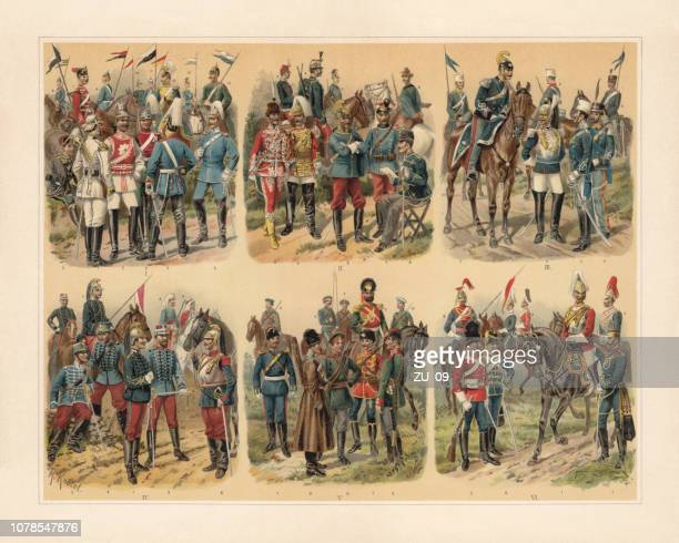 european cavalries, chromolithograph by richard knötel (1857-1914), published in 1897 - cavalry stock illustrations