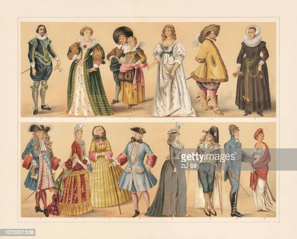 european costumes, 17th - 19th century, chromolithograph, published in 1897 - 18th century stock illustrations