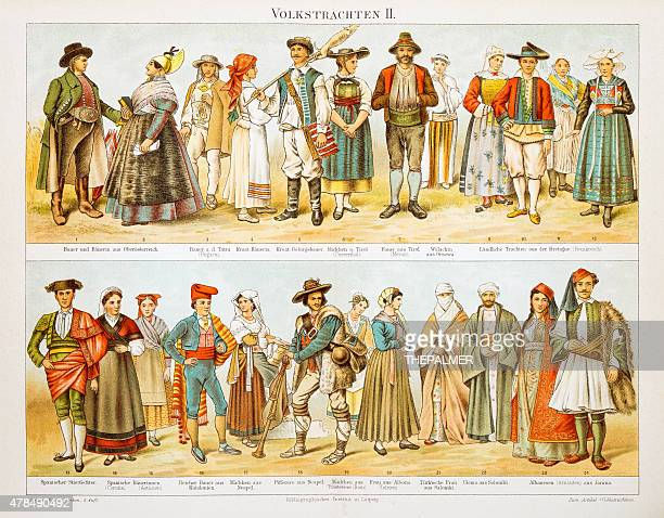european costumes lithograph 1897 - trastevere stock illustrations