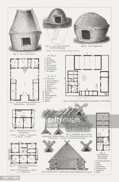 european farmhouse (germany and switzerland), wood engraving, published in 1897 - pediment stock illustrations, clip art, cartoons, & icons