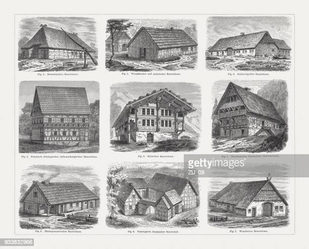 European farmhouse (Germany and Switzerland), wood engravings, published in 1897