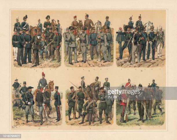 European Jaegers, gunners, pioneers and trains, chromolithograph, published in 1897