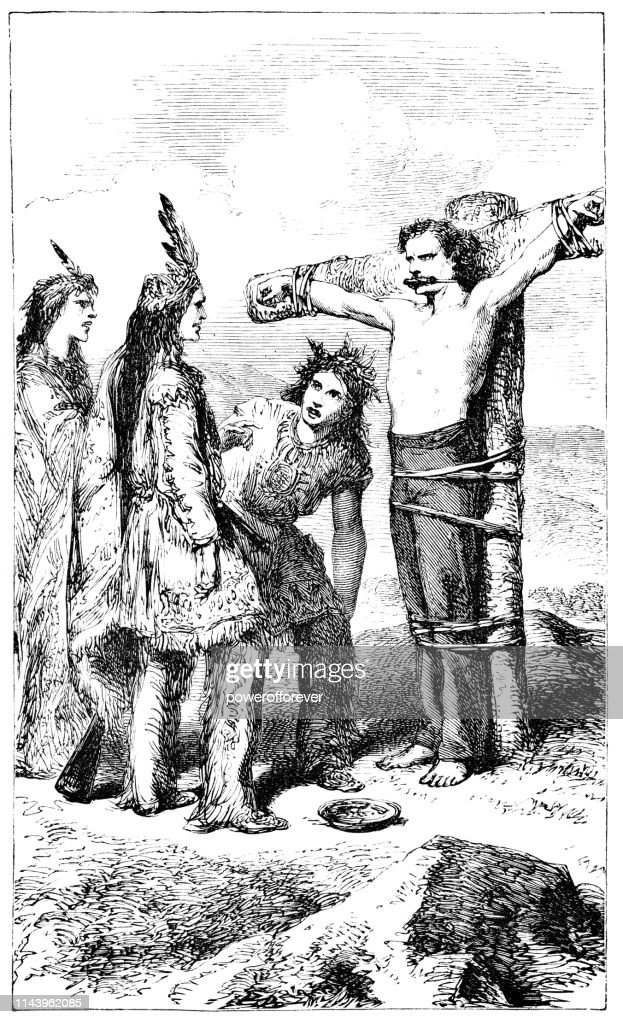 European Man Being Restrained by Native Americans - 19th Century : stock illustration