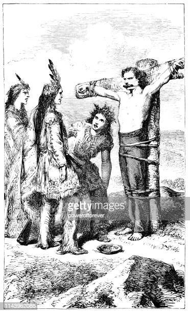 European Man Being Restrained by Native Americans - 19th Century