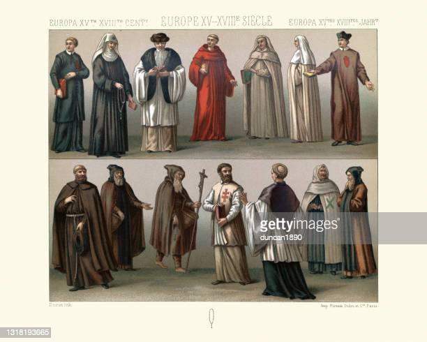 ヨーロッパの宗教ファッション、修道院の衣服、15世紀から18世紀 - 聖職服点のイラスト素材/クリップアート素材/マンガ素材/アイコン素材