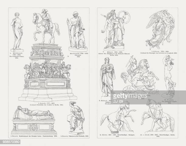 european sculpture art, 19th century, wood engravings, published in 1897 - goddess stock illustrations, clip art, cartoons, & icons