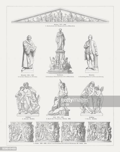 european sculpture art, 19th century, wood engravings, published in 1897 - pediment stock illustrations, clip art, cartoons, & icons