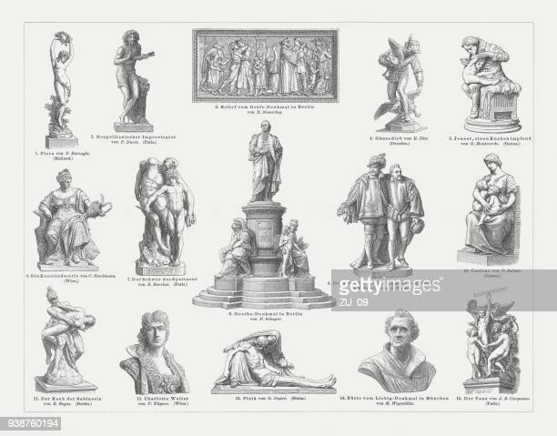 european sculpture art, 19th century, wood engravings, published in 1897 - milan stock illustrations, clip art, cartoons, & icons