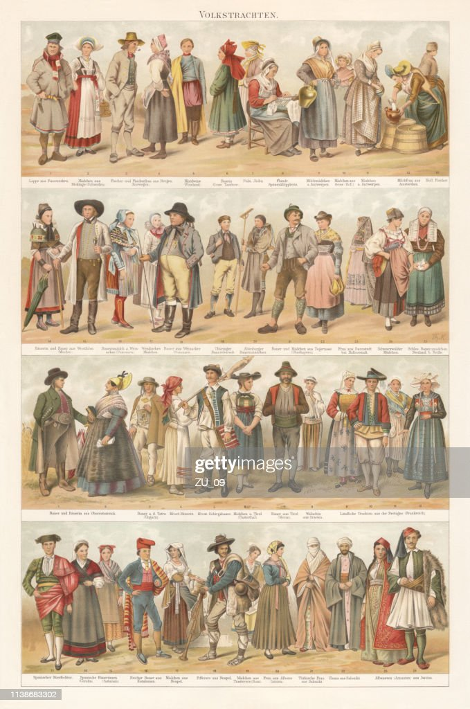 European traditional ethnic folklore costumes, chromolithograph, published in 1897 : stock illustration