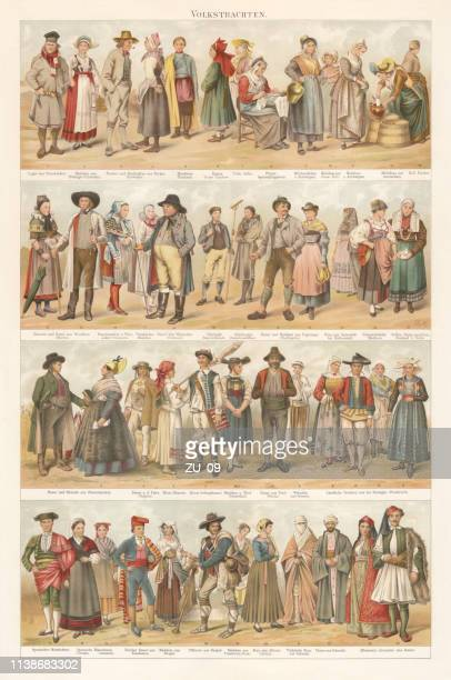 European traditional ethnic folklore costumes, chromolithograph, published in 1897