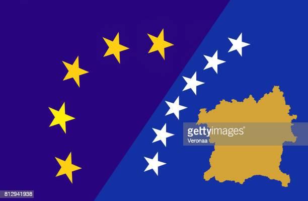 European union and Kosovo flag