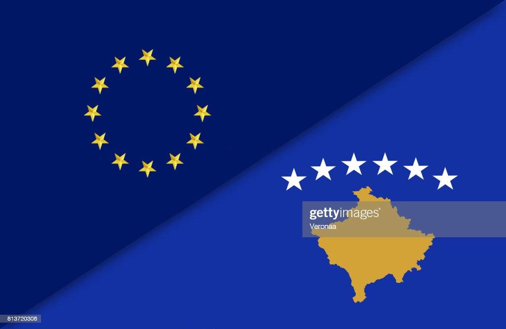 European Union And Kosovo Flag Stock Illustration Getty Images