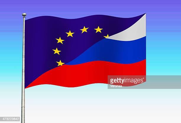 europäischen union und russische flagge - russland stock-grafiken, -clipart, -cartoons und -symbole