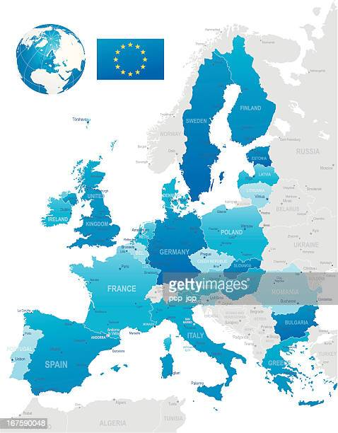 european union - highly detailed map - eastern europe stock illustrations, clip art, cartoons, & icons