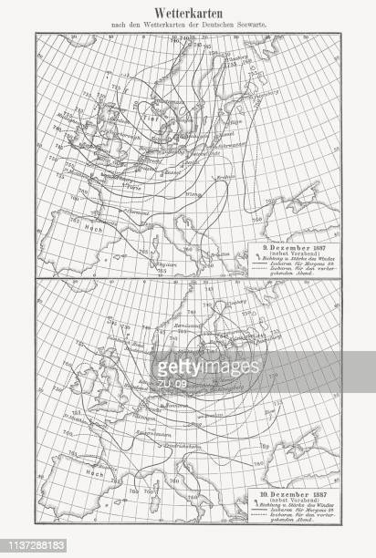 european weather maps, 9th and 10th december 1887, woodcut, 1897 - 1887 stock illustrations, clip art, cartoons, & icons