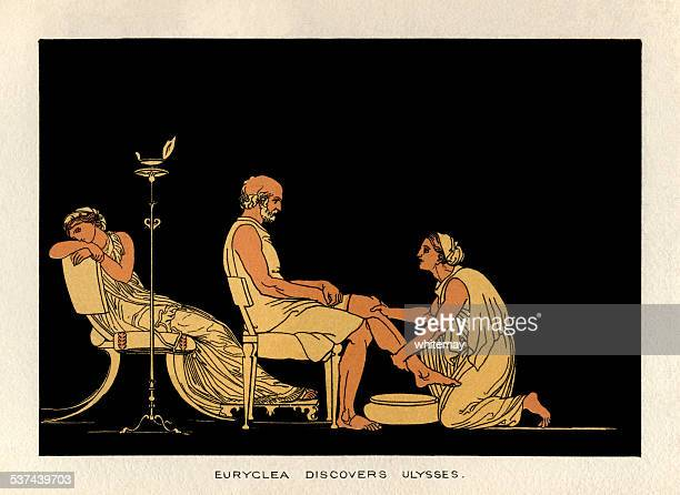 euryclea discovers ulysees - trojan war stock illustrations, clip art, cartoons, & icons