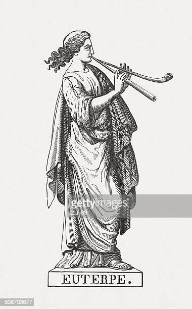 euterpe, greek muse of music and lyric poetry, published 1878 - artist's model stock illustrations, clip art, cartoons, & icons