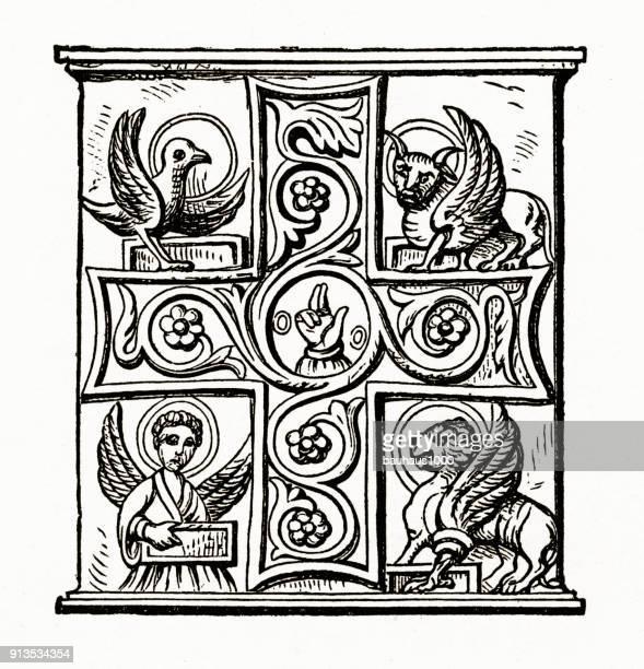 Evangelisten christelijke symboliek gravure