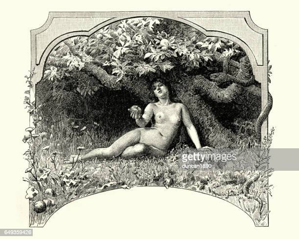 eve and the apple in the garden of eden - temptation stock illustrations, clip art, cartoons, & icons