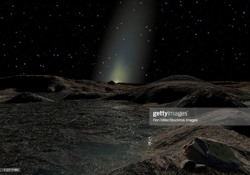 Even though Mercury is the planet nearest the sun, it may have large amounts of ice at its poles, permanently shaded from the sun. : stock illustration