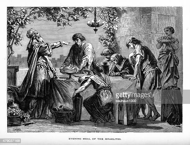 evening meal of the israelites biblical engraving - passover stock illustrations
