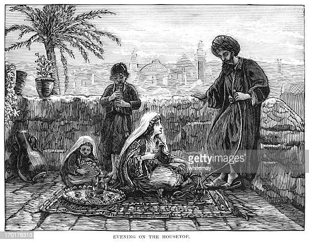 evening on a middle eastern roof top - hookah stock illustrations, clip art, cartoons, & icons