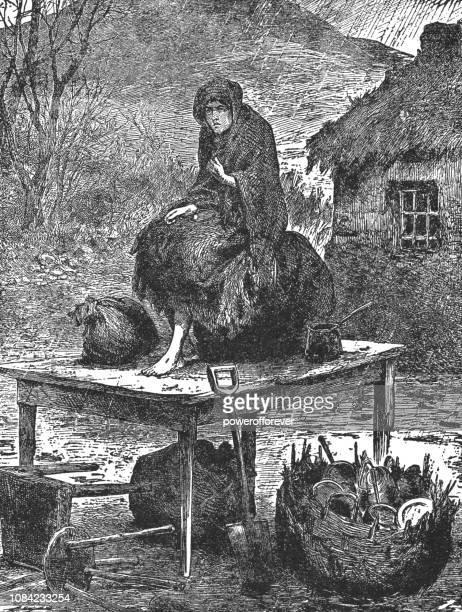 illustrations, cliparts, dessins animés et icônes de expulsées de personne vivant dans la pauvreté dans l'irlande rurale - xixe siècle - vagabond
