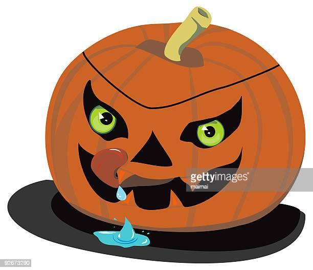 evil halloween pumpkin, drooling - animal saliva stock illustrations, clip art, cartoons, & icons