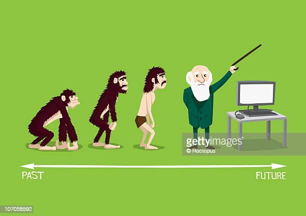 evolution of man, charles darwin, technology - the past stock illustrations