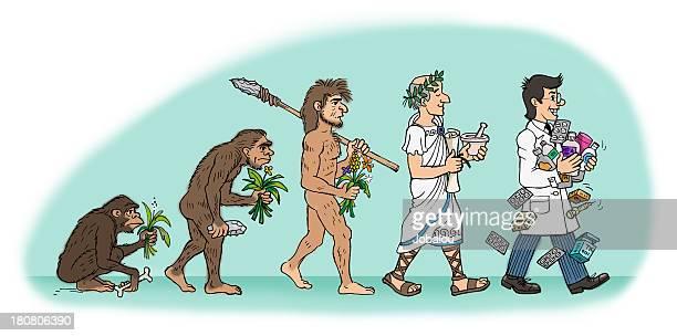 illustrazioni stock, clip art, cartoni animati e icone di tendenza di evoluzione del farmacista uomo - homo sapiens