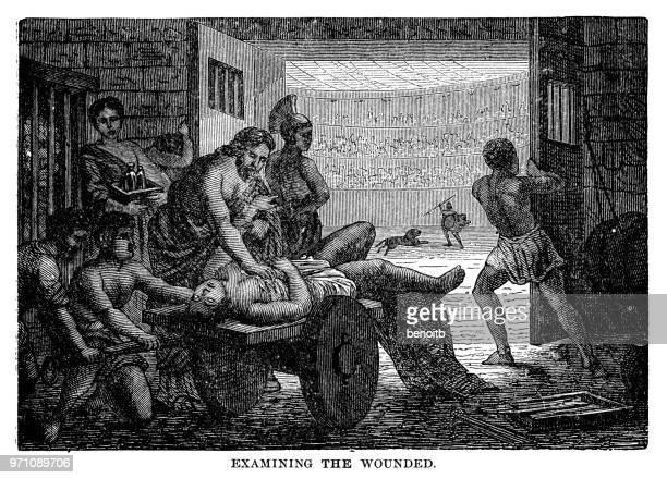 ilustrações, clipart, desenhos animados e ícones de examinando o gladiador ferido - coliseu