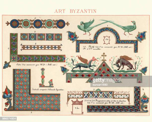 examples of ancient byzantine decorative art - byzantine stock illustrations