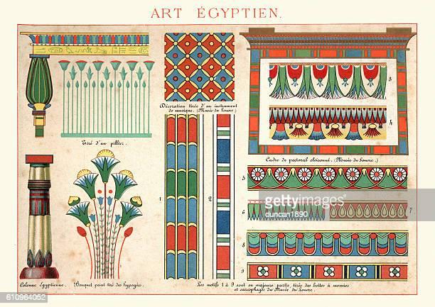 ilustrações, clipart, desenhos animados e ícones de examples of ancient egytian art ornamentation - cultura egípcia