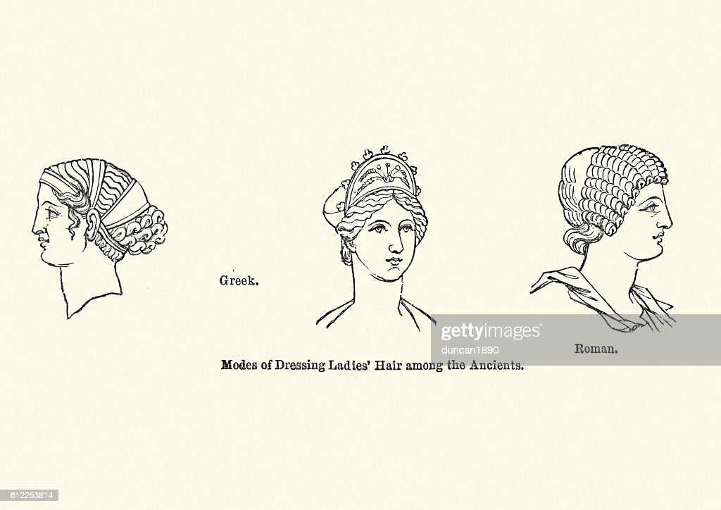 Examples of ancient hair styles : stock illustration