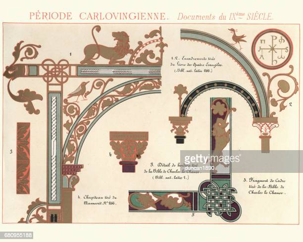 Examples of Carolingian Decorative Design 7th to 9th Century