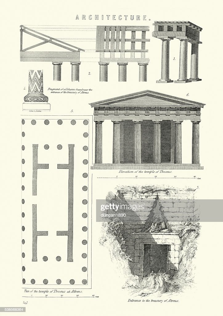 Examples of classical architecture : stock illustration
