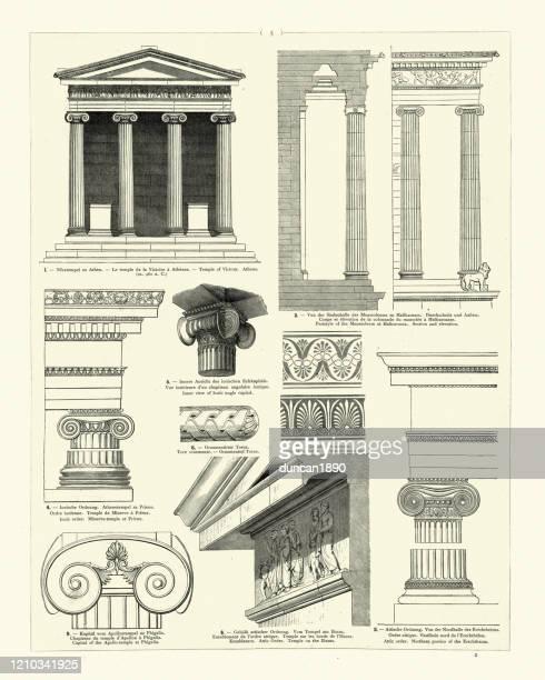 ilustrações, clipart, desenhos animados e ícones de exemplos da arquitetura clássica, templo da vitória, atenas - pediment
