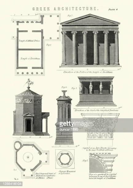 ilustrações, clipart, desenhos animados e ícones de exemplos da arquitetura grega clássica - pediment