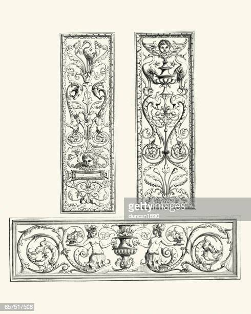 examples of flemish renaissance oak panels 16th century - architectural feature stock illustrations, clip art, cartoons, & icons