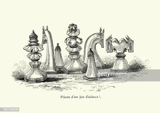 ilustrações de stock, clip art, desenhos animados e ícones de examples of medieval chess pieces - xadrez