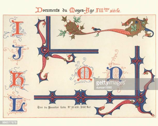ilustrações de stock, clip art, desenhos animados e ícones de examples of medieval decorative art 13th century - letraj