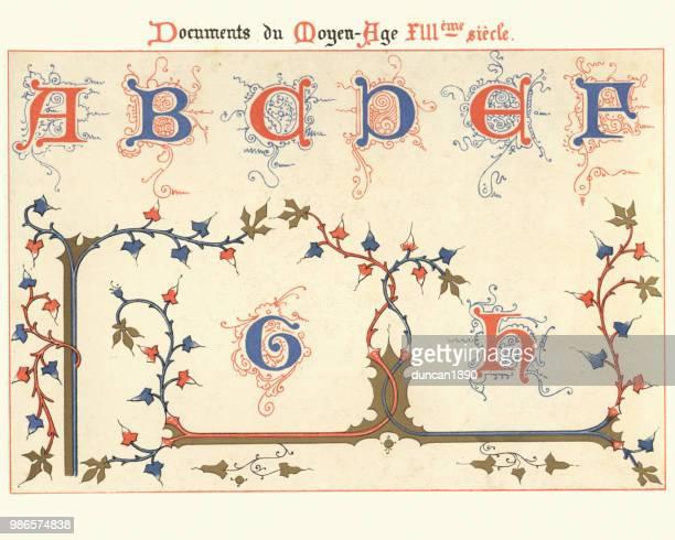 illustrazioni stock, clip art, cartoni animati e icone di tendenza di esempi di arte decorativa medievale xiii cetnury - lettera b