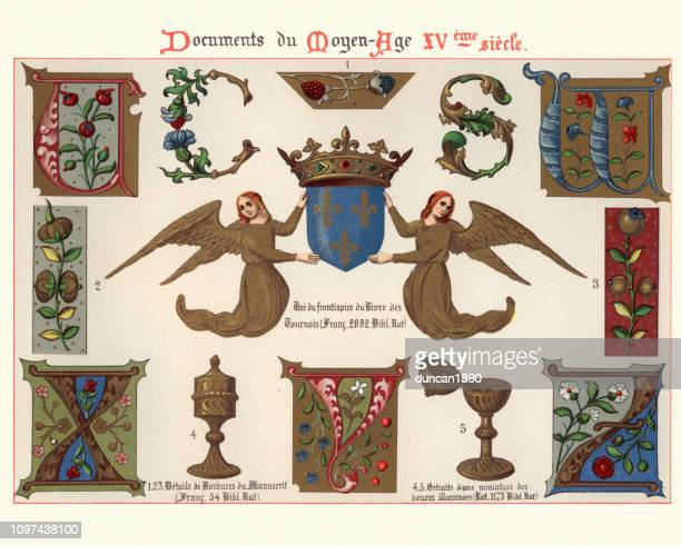 53 Medieval Illuminated Letter stockillustraties, clip-art